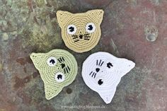 Hæklede katte Crochet Shark, Crochet Toys, Crochet Baby, Free Crochet, Knit Crochet, Crochet Designs, Crochet Patterns, Crochet Appliques, Rock Painting Supplies