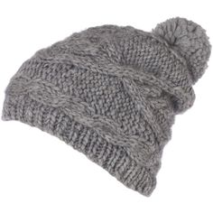Chunky Cable Knit Hat (€16) ❤ liked on Polyvore featuring accessories, hats, beanie, gorros, acrylic beanie, beanie cap hat, cable hat, bobble beanie hat and beanie cap