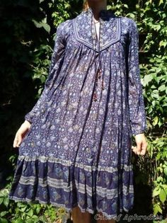 Vintage 70s Ethnic India GAUZE Maxi HIPPIE boho Dress