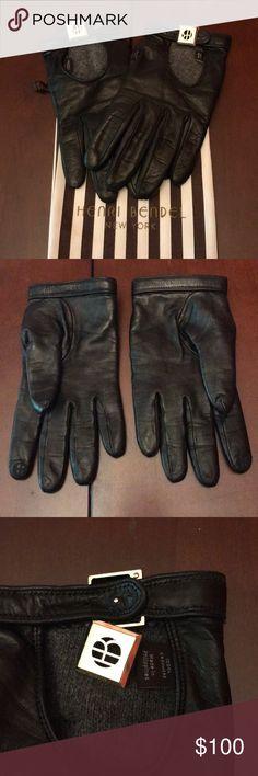 Henri Bendel Leather Driving Gloves Black leather gloves w/ cashmere lining. Driving glove style. Henri Bendel logo on index finger & gold tone slide closure. Wrist strap has 2 adjustable holes. Includes storage bag. henri bendel Accessories Gloves & Mittens