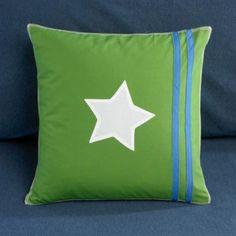 cool star pillow- green & blue