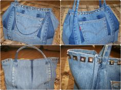 Multiple views and close up of details.  Diamanté stud up-cycled Levi's jeans denim bag/purse. Structured shape and corded handles.