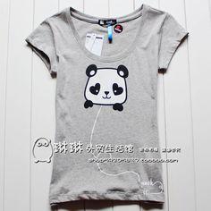 3 包邮 the clot panda round neck Sen Department 2012 summer clothing, new quarter Korean Women with disabilities short-sleeved Slim t-shirt - Taobao
