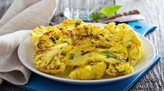 How to make some delicious cauliflower steaks? This spicy grilled cauliflower steaks recipe discusses how to make a uniq. Roasted Curry Cauliflower, Grilled Cauliflower, Cauliflower Dishes, Vegetable Dishes, Cauliflower Nuggets, Grilling Recipes, Vegetable Recipes, Vegetarian Recipes, Healthy Recipes