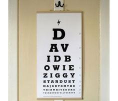 David Bowie Eye Test Poster