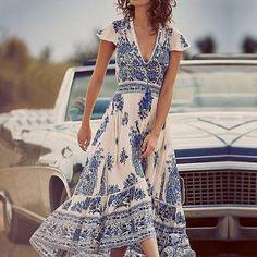 Women Dress  Bohemian Vintage Print Maxi Long Dresses Casual Deep V Neck