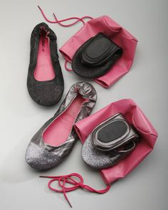 Perfect when you need to travel light !!    -Glitter-Toe Ballet Travel Flats by Neiman Marcus at Neiman Marcus.