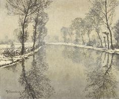 Artwork by Max Clarenbach, A Winter Scene on the River Erft, Made of Oil on canvas