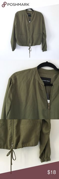 "Who What Wear | Aviator Jacket New with tags. Army green. Size small. Lyocell and polyester. 21"" long. Sleeves 23"" long.   😇Top Rated Seller😇  📫Fast Shipping📫  🥂10% Off 2+ Items--Click ""Add to Bundle"" to Save!🥂 Who What Wear Jackets & Coats Utility Jackets"