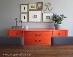 Ho-hum Craigslist dresser painted brilliant orange | Design Megillah