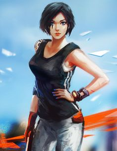I revisited Mirror's Edge recently, sketched Faith just for fun~ I really hope to see some improvement in the gameplay for the coming ME2, and I added a grapple hook to her left arm ^ ^