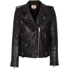 IRO Ebeyna Black Biker leather jacket (£500) ❤ liked on Polyvore featuring outerwear, jackets, coats, leather jacket, tops, black motorcycle jacket, slim fit jacket, black leather jacket y slim fit leather jacket
