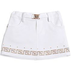 YOUNG VERSACE Studded Stretch Cotton Jersey Skirt ($161) ❤ liked on Polyvore featuring baby and white