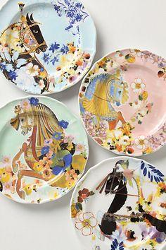 horses + anthro + dessert plates = love