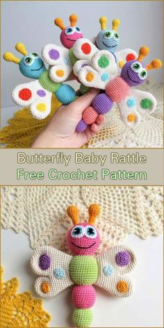 This adorable amigurumi Butterfly Baby Rattle are a perfect gift for your junior on the way. It is also a great idea for a gift for any baby shower or Christmas. The rattle promotes the development of baby's senses like touch, hearing and fine motor skills. Make your Butterly Baby Rattle from an or