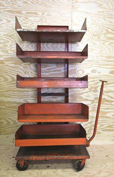 Vintage Industrial Shelving Cart