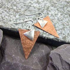 Earrings, Sterling Silver & Copper Triangle Earrings Gift for Her £18.00