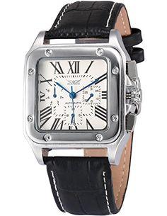 AMPM24 Herren Automatikwerk Armbanduhr Analog Tag Datum Anzeige Schwarz Leder Band PMW418 - http://uhr.haus/ampm24-2/ampm24-herren-automatikwerk-armbanduhr-analog