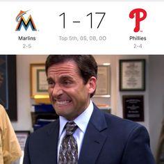 ... top of the 5th...  I blame Derek Jeter. #miami #philadelphia #baseball #mlb #michaelscott #ouch #marlins #marlinspark #marlinsman #philly #baseball #april #spring #wow #rangers #texas #sports #foxsports