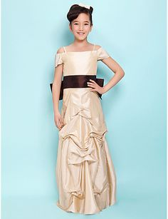 A-line Spaghetti Straps Floor-length Taffeta Junior Bridesmaid Dress
