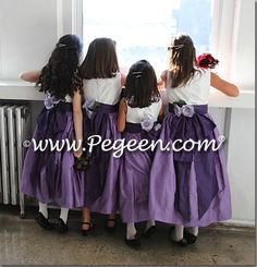 Periwinkle and Grape (Purple) Custom Silk flower girl dresses with silk flowers and back bustle