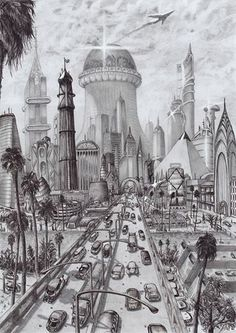 A new drawing done in black pen and grey lead pencil that I recently finished. It's yet another futuristic city drawing. I draw all of it from my imagination. Enjoy!