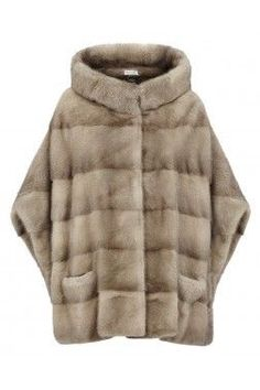 Pastel Mink Fur Cape Coat