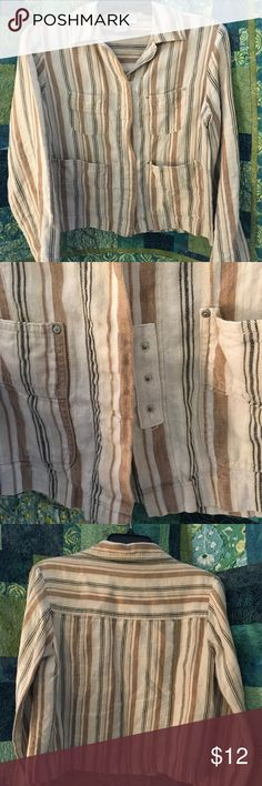 Beige Striped Linen Jacket This is a lightweight linen jacket. Nice beige, cream, dark brown stripes. It has snap closures and is a size 2P. Chadwicks Jackets & Coats Blazers