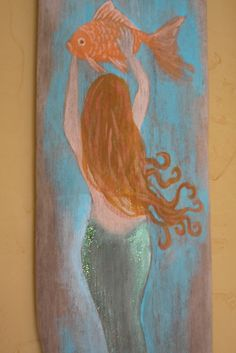 Mermaid Sign Hand Painted on Driftwood Costal Beach Art by upcyclesisters on Etsy https://www.etsy.com/listing/229237878/mermaid-sign-hand-painted-on-driftwood