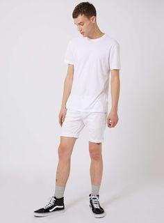 White Stretch Skinny Chino Shorts