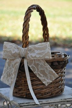Burlap and Lace Flower Girl Basket  READY TO by SettingUpHouse, $38.00