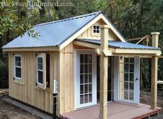 Need a shed or studio with no treated materials? This custom 10'x12' Garden Shed is available from Backyard Unlimited. Options include a 5'x10' Porch, Metal Roof, Hinged Slider Windows, 15-Lite Prehung Doors, Board & Batten Siding, and Redwood Foundation and Deck http://www.backyardunlimited.com/sheds.php