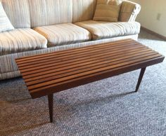 Vintage Mid Century Modern Slat Bench/ Coffee Table