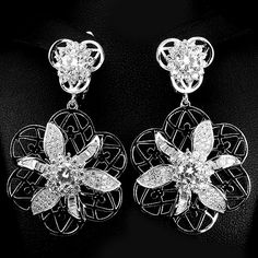 Cubic Zirconia White Gold Plated Silver Earrings