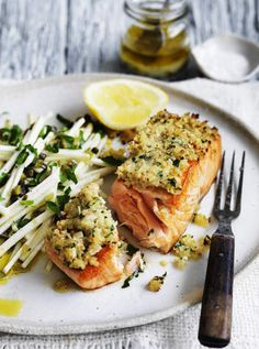 Neil Perry's simple salmon (under 30 mins): Flavoured breadcrumb crusts are a really nice way to add texture and flavour to fish - tis one uses mustard seed.