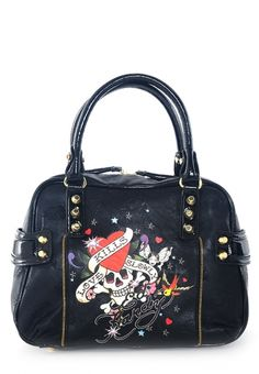 Ed Hardy Satchel~I got this for Christmas but mine has fringe on the zipper
