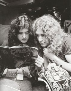 Jimmy Page and Robert Plant reading Creem feature story on Led Zeppelin aboard The Starship.
