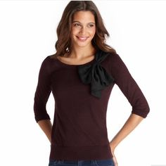 PETITE BOW NECK 3/4 SLEEVE SWEATER by LOFT An oversized woven bow at the neckline adds a playfully flirty (and oh so girly) touch to this 3/4 sleeve style. Ballet neck. 3/4 sleeves. Banded neckline. Ribbed cuffs and hem. 40% ACRYLIC, 30% WOOL, 30% POLYESTER IMPORTED HAND WASH, LAY FLAT TO DRY. NWOT. Never worn. LOFT Sweaters Crew & Scoop Necks