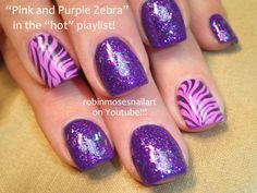 Nail-art by Robin Moses pink and purple zebra http://www.youtube.com/watch?v=hg4BMP7AQ3o
