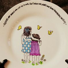 """Personalized ceramic plates """"sister plate"""" Can personalize plates, mugs, wine glasses, bowls, ornaments etc! Check out my fb page michelle's Personalized creations or my instagram michellespersonalizedcreations With more of my work! Plates are $27.99 free shipping anywhere in us! ☺ Personalized Plates, Fb Page, My Fb, Ceramic Plates, Bowls, Ceramics, Wine, Free Shipping, Ornaments"""