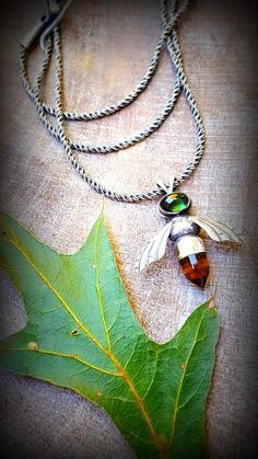 Bee Necklace, Sterling Honeybee, Citrine Honeybee Necklace,  Bee Pendant, Tourmaline Bee Pendant, Sterling Bee Amulet, Gift for a Gardener