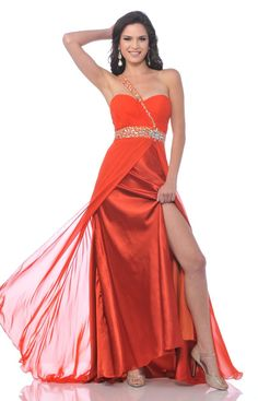 Rhinestone Single Shoulder Orange Prom Dress Side Slit Long Chiffon 23799