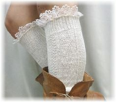 Ivory Thick Lace Edged Boot Socks http://www.nanamacs.com/ivory-thick-lace-edged-boot-socks/ #bootsocks #legwarmers #lace