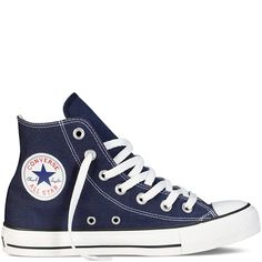 Converse Chuck Taylor All Star Hi Round Toe Canvas Sneakers, Navy/White, 11