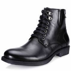 Black Leather Lace Up Retro Vintage Dress Ankle Chelsea Boots Men SKU-1100477