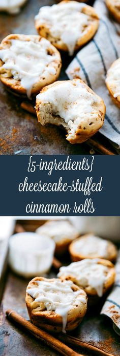 20 minutes, 5 ingredients Cheesecake Filled Cinnamon Rolls -- EASY and delicious! Brunch Recipes, Breakfast Recipes, Dessert Recipes, Breakfast Ideas, Yummy Recipes, Brunch Foods, Healthy Recipes, Just Desserts, Delicious Desserts