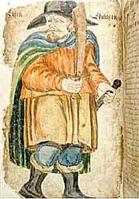 Egil Skallagrimsson, the hero of Egil's saga, from a late manuscript. Egil's saga contains many verses attributed to the hero