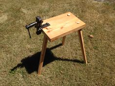 Portable Workbench by Steven Gatke. The vise stays on but the three legs are easily removed and installed.