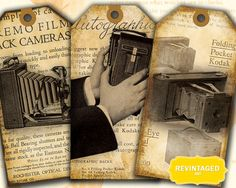 Giving a special photograph or framed art as a gift?  Use these unique hang tags to embellish the package.   Vintage Camera Tags // Antique Photography Images by RevintagedArt, $2.90
