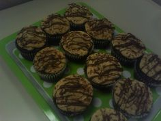 Chocolate cupcakes with a fudge filling and a peanutbutter buttercream frosting